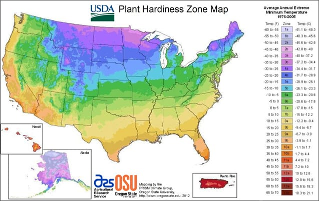 image of plant hardiness zone map