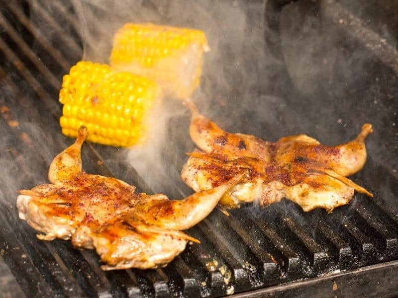 photo of quail on grill