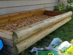 photo of mushroom raised bed build in progress