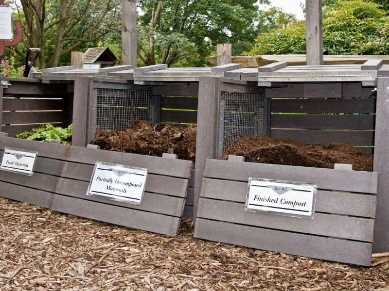 photo of a 3 bin compost system